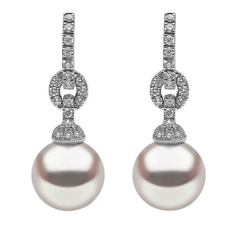 Yoko London South Sea Pearl and Diamond Drop Hoop Earring 18K White Gold