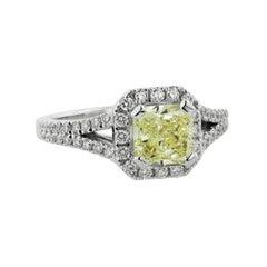 GIA Certified 2.11 Carat Yellow Diamond Halo Engagement Ring 18 Karat White Gold