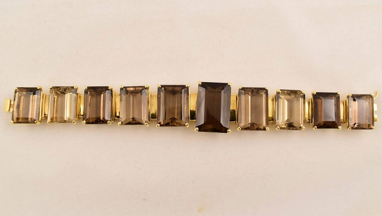 Contemporary Tony Duquette 287 Carat Smoky Quartz Gold Bracelet For Sale