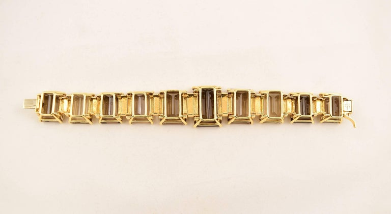 Tony Duquette 287 Carat Smoky Quartz Gold Bracelet In New Condition For Sale In Montreal, QC