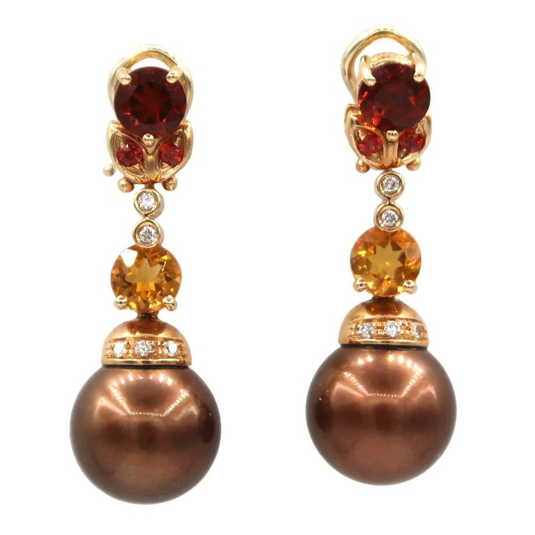 Mangiarotti Chocolate Brown Pearl Diamond Spessare Citrine Rose Gold Earrings For