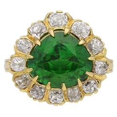Natural Unenhanced Demantoid and Diamond Cluster Ring in Yellow Gold