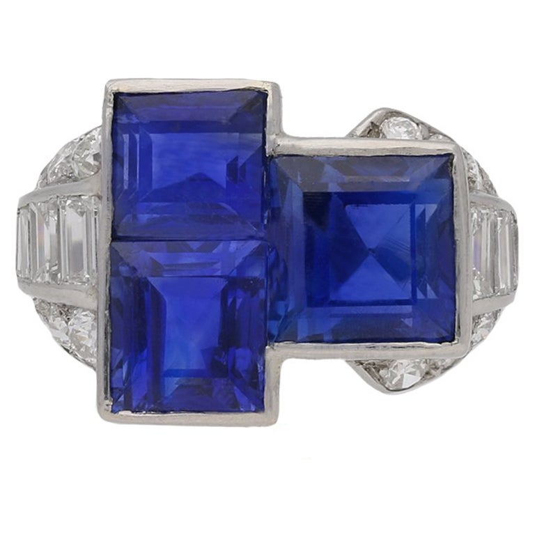 Oscar Heyman Brothers Art Deco sapphire and diamond ring, American, circa 1925.