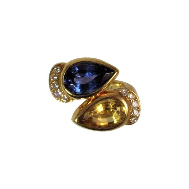 Susan Berman 18 Karat Yellow Gold Tanzanite, Beryl and Diamond Ring