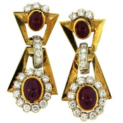 Bulgari Ruby Diamond Yellow Gold Earrings