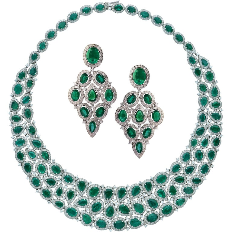 101 Carat Emerald and Diamond Necklace and Earrings Set For Sale