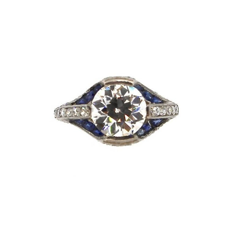 Art Deco Sapphire and GIA Certified I VS2 Old European Cut Diamond Platinum Ring For Sale