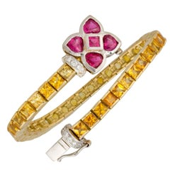 Ella Gafter Golden Yellow Sapphire Ruby Diamonds Flower Line Color Bracelet