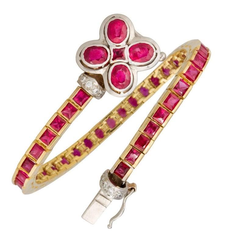 Ella Gafter Ruby and Diamond Flexible Gold Flower Tennis Color Line Bracelet