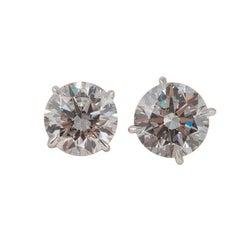 "Platinum 3.00 Carat Total Diamond Stud Earrings - Guaranteed ""Blood Free"""