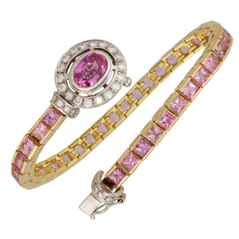 Ella Gafter Pink Sapphire and Diamonds Flexible Gold Tennis Bracelet For Sale