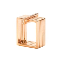 Sophie Birgitt Geometric Rectangular Gold Cocktail Ring