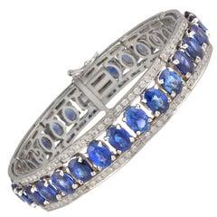 Ella Gafter Blue Ceylon Sapphire Diamond Bangle Bracelet