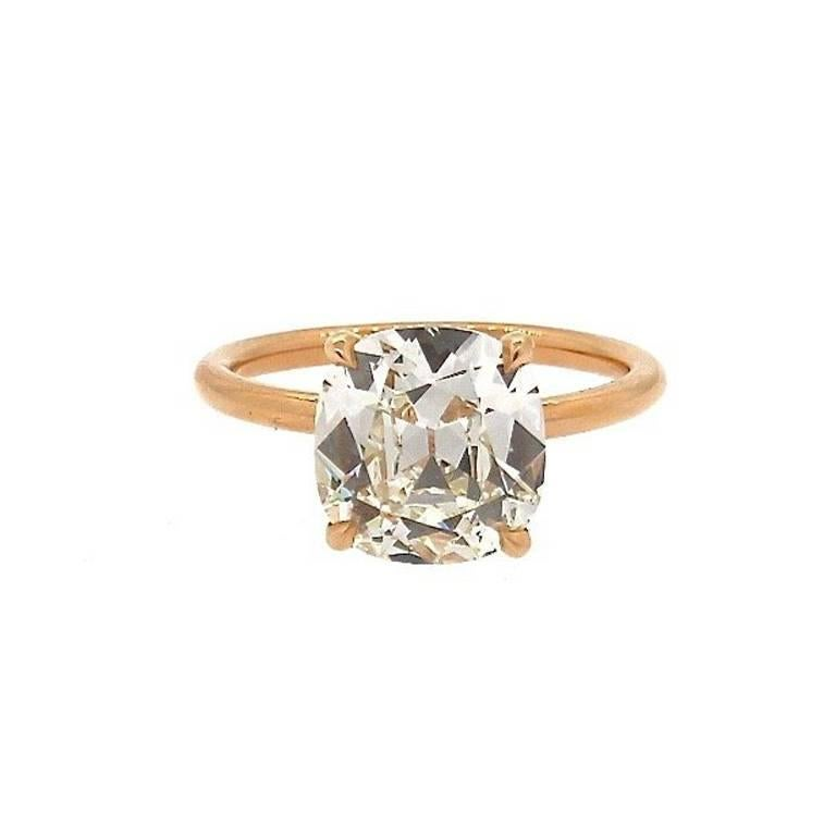 GIA Certified Antique Cushion Diamond 3.21 Carat Rose Gold Ring