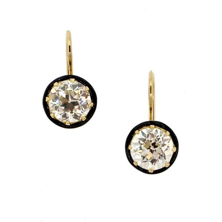 Old European Cut 2.90 and 2.66 Carat Diamond Gold Earrings