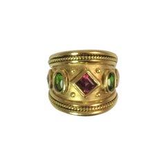 Seidengang 18 Karat Yellow Gold Wide Multi-Color Band Ring
