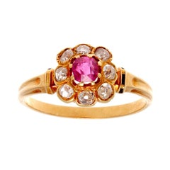 19th Century French Ruby Diamond Gold Cluster Ring