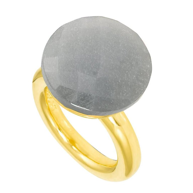 Bonds of Union ' To a Dream Planet ' Grey Moonstone Yellow Gold Plated Ring