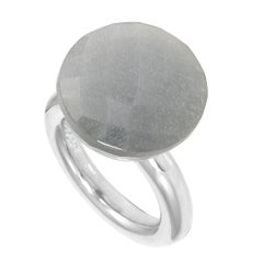 ' To a Dream Planet ' Grey Moonstone White Gold Plated Cocktail Ring