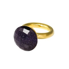 'To The Stars' Midnight Blue Crystal Yellow Gold Plated Cocktail Statement Ring