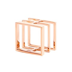 Sophie Birgitt 18 Karat Gold Geometric Square Cocktail Ring