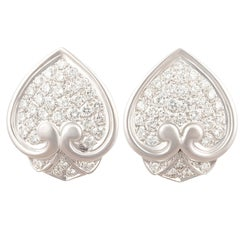 Ella Gafter Pave Diamond Earrings White Gold Spade Leaf Clip-On
