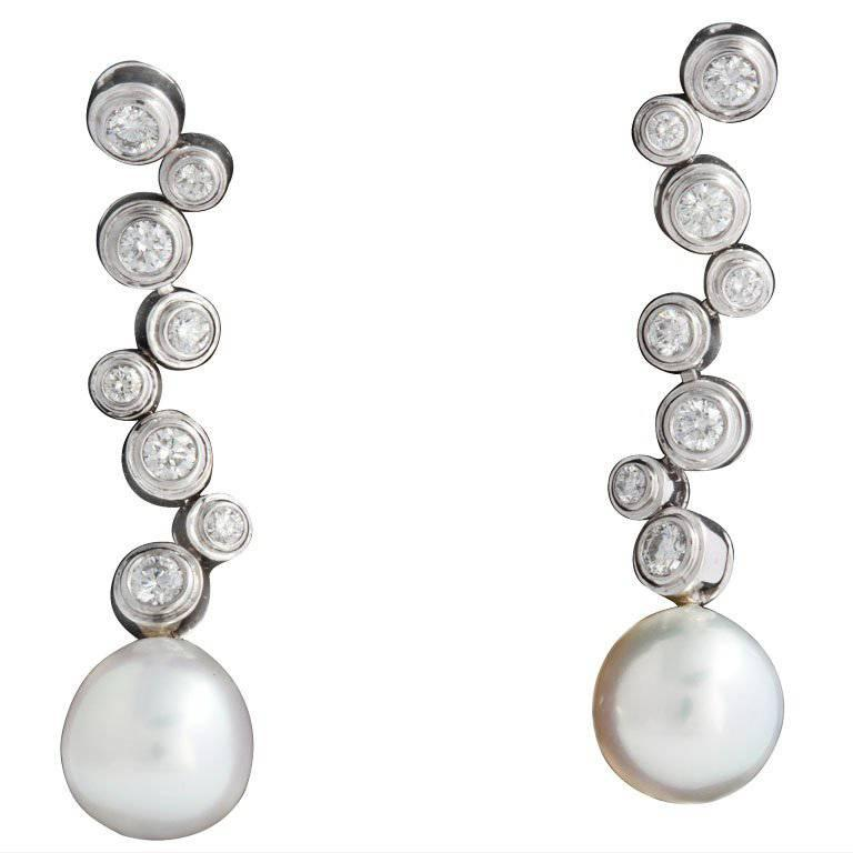 Diamond Bubble White Gold Drop Earring with Detachable Pearl
