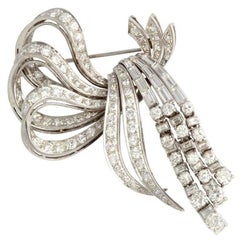 Large 1950s Articulated Diamond Platinum Bow Brooch