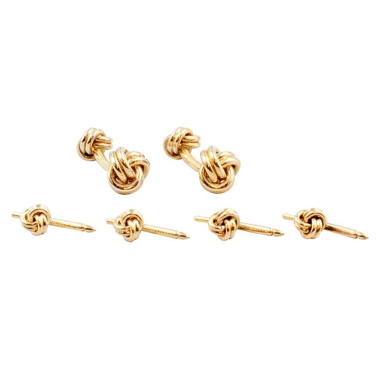 3ab9c93b1 Tiffany and Co. Gold Knot Cufflinks and Studs Tuxedo Set at 1stdibs