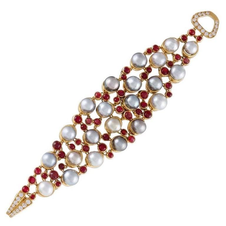 René Boivin Paris 1980s Pearl Ruby Diamond and Gold Bracelet