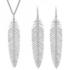 5.55 Carat Diamonds Feather Dangle Pendent and Earring Set