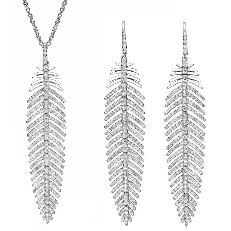 5.55 Carat Diamonds Feather Dangle Pendent and Earring Set 1