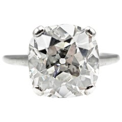 Exquisite 5.25 Carat GIA Certified Antique Cushion Diamond Ring