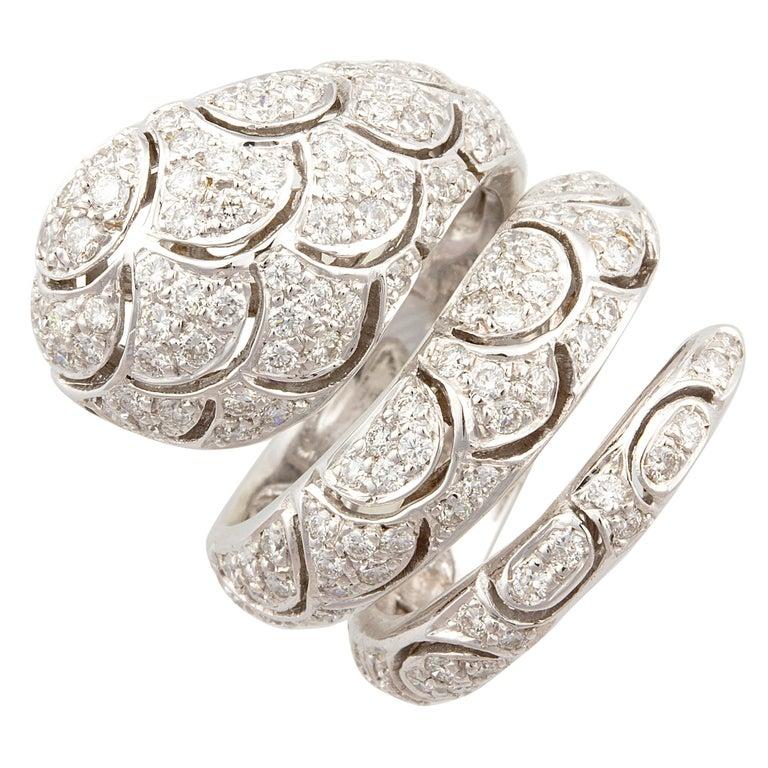 Ella Gafter Diamond Snake Cocktail Ring For Sale