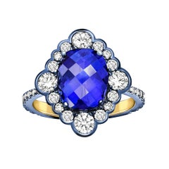 Yellow Gold Cushion Cut Blue Tanzanite White Diamond Cocktail Engagement Ring