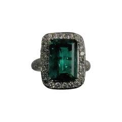 18 Karat White Gold Columbian Emerald and Diamond Ring