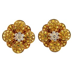 Van Cleef & Arpels Diamond Yellow Sapphire Gold Earrings