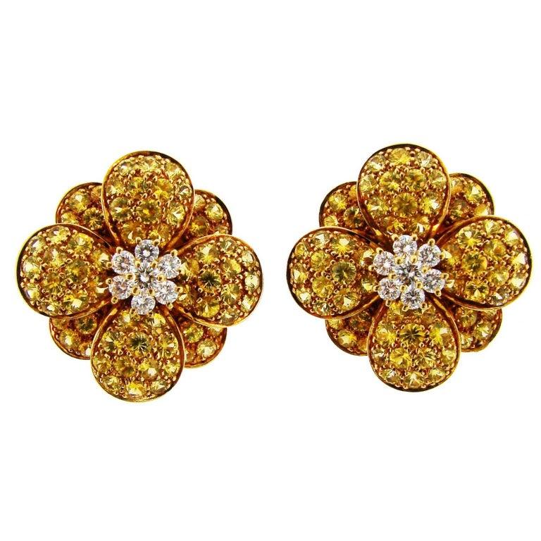 Van Cleef & Arpels Diamond Yellow Sapphire Gold Earrings
