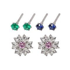 2.84 Carat Floral Interchangeable Diamond Earrings Set with Heart Shape Diamonds