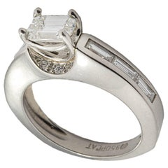 Modern Emerald Cut and Baguette Diamond Ring