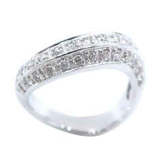 Boon Wavy White Diamond White Gold Band Ring