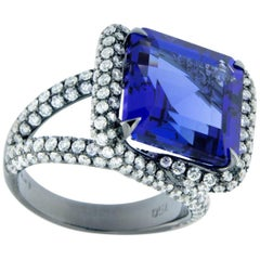 Jona 9.9 Carat Tanzanite Diamond White Gold Solitaire Ring