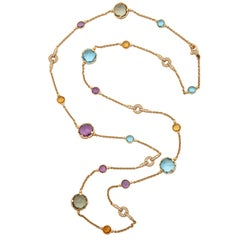 Bvlgari Multicolored Stones and Diamond Gold Link Long Chain Necklace with Clasp