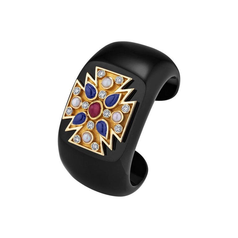 Verdura Black Jade Diamond Ruby Sapphire Pearl Gold Maltese Cuff For Sale