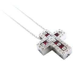 2 Cross Pendants Combinable Joinable Splittable Diamond Ruby White Gold Chain