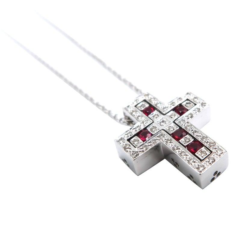 2 Cross Pendants Combinable Joinable Splittable Diamond Ruby White Gold Chain