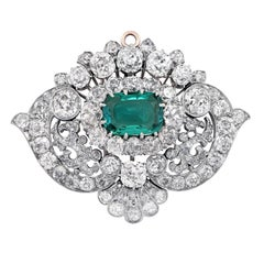 Tiffany & Co. circa 1880 Classic Colombia Emerald Diamond Pin Necklace