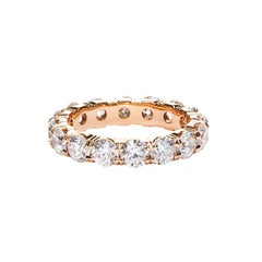 Round Cut Diamond Rose Gold Eternity Wedding Band