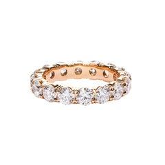 Round Cut Diamond Rose Gold Eternity Wedding Band