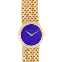 Piaget Ladies 18k Yellow Gold Dress Watch With Lapis Dial